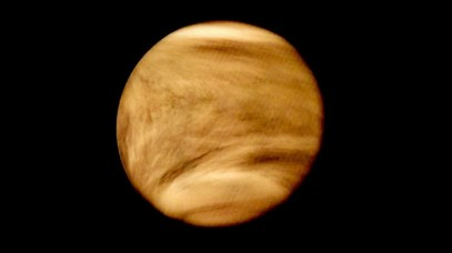 Venus as seen in ultraviolet light by NASA's Pioneer Venus Orbiter spacecraft in 1979. The dark patches in the upper atmosphere have been a mystery for nearly a century. Could they actually contain living microbes? Photo Credit: NASA