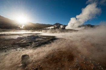 Hydrothermal geysers at El Tatio in the Atacama Desert, Chile. Photo Credit: Ben Pipe Photography/Corbis