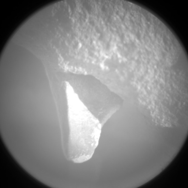 Close-up Chemcam view of the same protrusion, from sol 442. Click image for larger version. Credit: NASA / JPL-Caltech