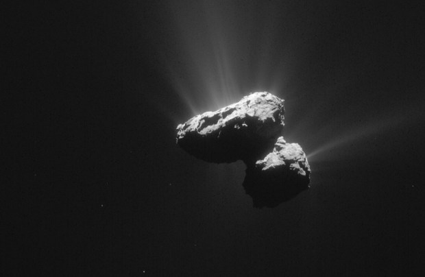 "Image from July 14, 2015, showing the double-lobed or ""rubber duck"" shape of Comet 67P and outgassing of water vapor, gas, and dust. Image Credit: ESA/Rosetta/NAVCAM – CC BY-SA IGO 3.0"