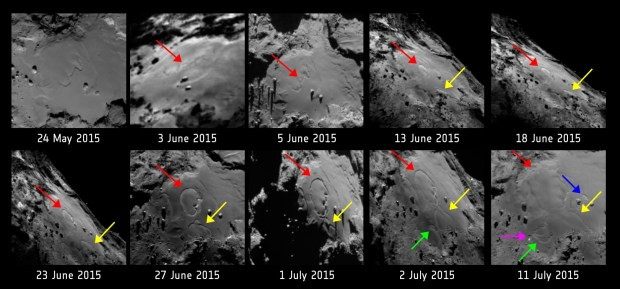 Annotated version of the image sequence, with dates and locations of the observed changes. Image Credit: ESA/Rosetta/MPS for OSIRIS Team MPS/UPD/LAM/IAA/SSO/INTA/UPM/DASP/IDA