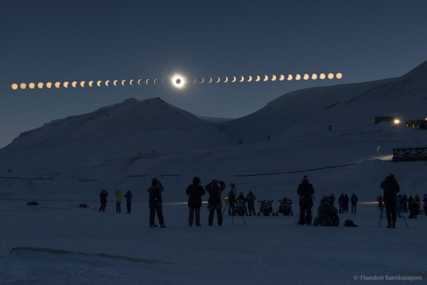 A total solar eclipse over Svalbard, Norway. Photo Credit: Thanakrit Santikunaporn
