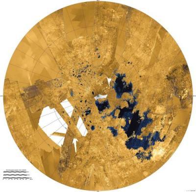 Wider view of lakes and seas near Titan's north pole. Image Credit: NASA/JPL-Caltech/ASI/USGS