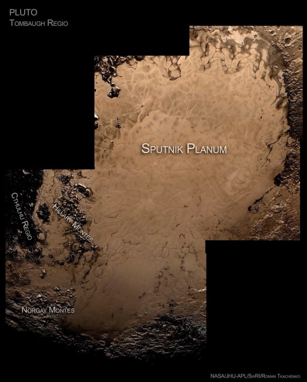 The icy plains and mountains in Tombaugh Regio on Pluto. Credits: NASA/JHUAPL/SwRI/Roman Tkachenko