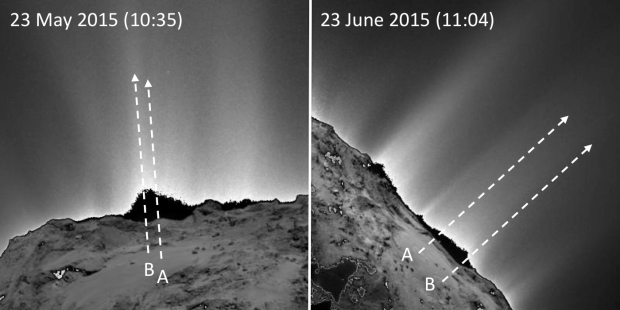 Activity seen above the Imhotep region with the OSIRIS narrow-angle camera on Rosetta on May 23, 2015 (left), before the changes were seen in this region, and on June 23, 2015 (right), after the changes had begun to appear. Image Credit: ESA/Rosetta/MPS for OSIRIS Team MPS/UPD/LAM/IAA/SSO/INTA/UPM/DASP/IDA