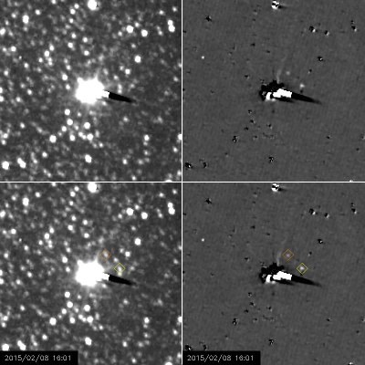Long-Exposure images taken by New Horizons between Jan. 27 and Feb. 8, 2015, showing the two tiny moons Hydra (inside yellow diamond) and Nix (inside orange diamond). Image Credit: NASA/Johns Hopkins University Applied Physics Laboratory/Southwest Research Institute
