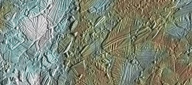 "The ""chaos terrain"" on Europa, where material from the ocean below, such as minerals or salts, is thought to be deposited on the surface. Image Credit: NASA/JPL/University of Arizona"