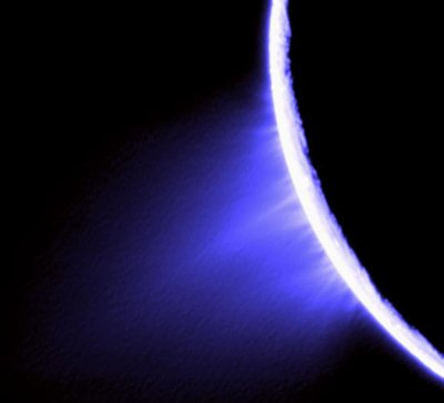 Color image of water vapor geysers on Enceladus. Image Credit: NASA/JPL