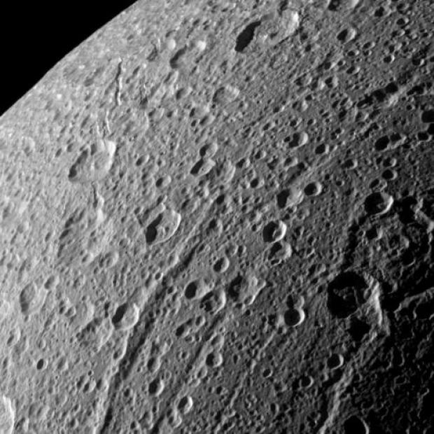 The cratered surface of Dione, as seen by Cassini. Did (or does) an ocean lurk beneath the surface? Credit: NASA / JPL / Space Science Institute