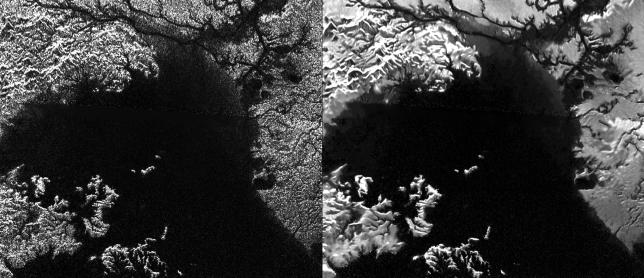 """Radar view of Ligeia Mare, a large hydrocarbon sea on Titan. The original version is on the left and the enhanced, """"despeckled"""" version is on the right. Image Credit: NASA/JPL-Caltech/ASI"""