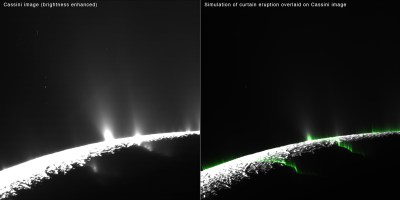 """Modeling of water vapor eruptions on Enceladus showing most of them to be more like """"curtains"""" of vapor than individual, brighter jets. Image Credit: NASA/JPL-Caltech/SSI/PSI"""