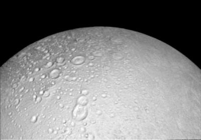 Heavily cratered terrain around the north pole of Enceladus. Image Credit: NASA/JPL-Caltech/Space Science Institute