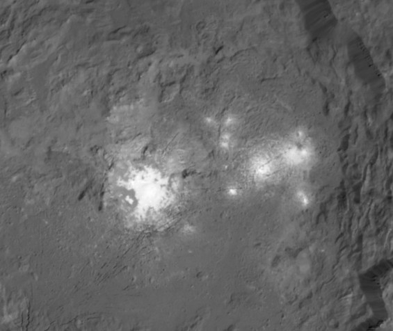 Closer view of the bright spots in Occator crater. Photo Credit: NASA/JPL-Caltech/UCLA/MPS/DLR/IDA