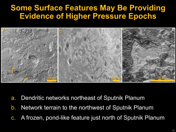 Slide from LPSC presentation showing features on Pluto's surface thought to have been created by flowing liquid nitrogen. Image Credit: NASA/Johns Hopkins University Applied Physics Laboratory/Southwest Research Institute