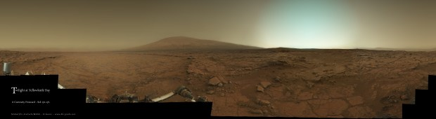 Curiosity's view of Gale crater at twilight. Click for larger version. Credit: NASA / JPL-Caltech / MSSS / Damien Bouic