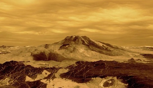 "Artist's conception of metallic ""snow"" on the flanks of Maat Mons on Venus (based on a Magellan radar image). Credit: NASA / JPL"