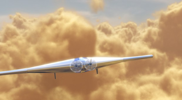 Artist's conception of the Venus Atmospheric Maneuverable Platform (VAMP) aircraft in the atmosphere of Venus. Image Credit: Northrop Grumman artist's concept