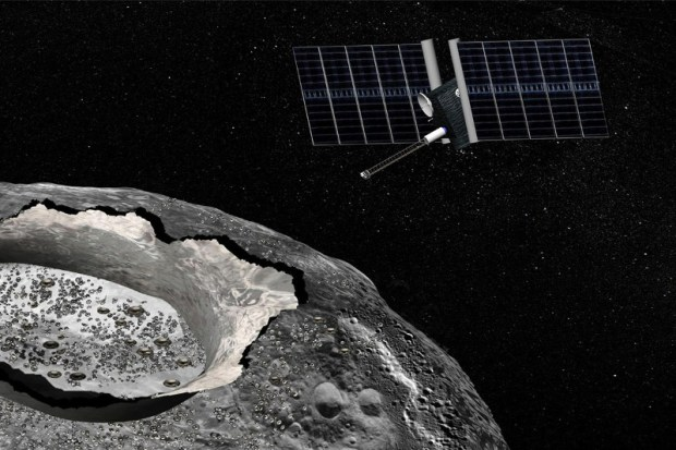 Artist's conception of the Psyche mission, which would investigate a large unique metallic asteroid called Psyche, which is composed of mostly iron and nickel, rather than rock. Image Credit: NASA/JPL-Caltech