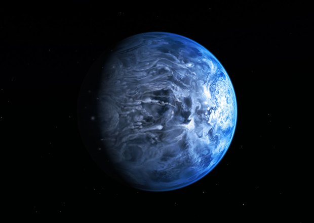 "Artist's conception of exoplanet HD 189733b—a ""deep blue dot"" reminiscent of Earth from a distance. Image Credit: NASA / ESA / M. Kornmesser"