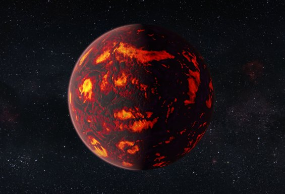 Artist's conception of 55 Cancri e, a searingly hot, carbon-rich world. Image Credit: ESA/Hubble, M. Kornmesser