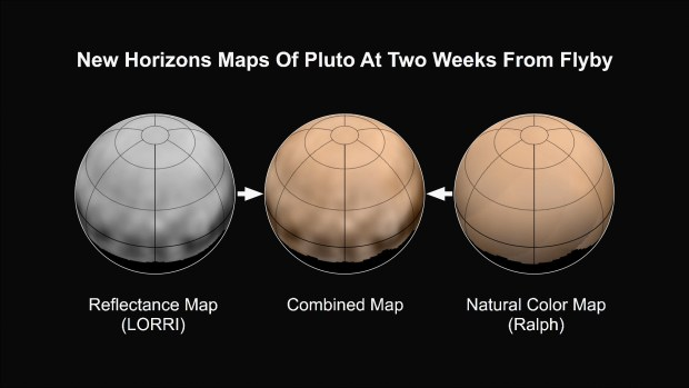 The newest maps of Pluto, as of two weeks before closest approach. A black and white reflectance map has been combined with a natural colour map to produce the map in the center. Four dark patches of about the same size and spacing can also be seen in these and other recent images. Image Credit: NASA/JHUAPL/SWRI