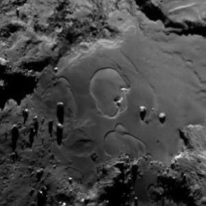 Circular features seen in the Imhotep region on Comet 67P on June 27, 2015. Image Credit: ESA/Rosetta/MPS for OSIRIS Team MPS/UPD/LAM/IAA/SSO/INTA/UPM/DASP/IDA