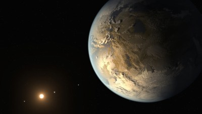 Artist's conception of Kepler-186f in orbit around its red dwarf star. Image Credit: NASA Ames/SETI Institute/JPL-Caltech