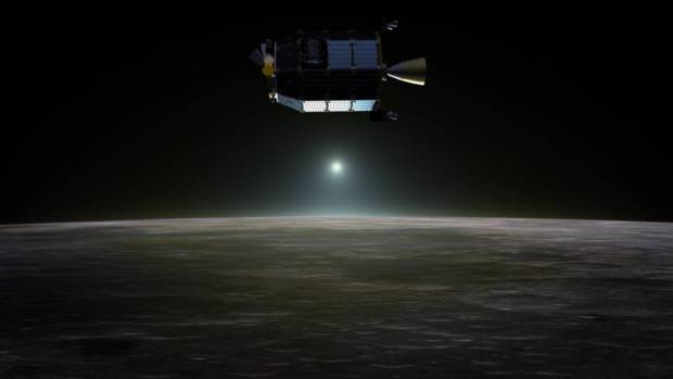 Artist's conception of the LADEE spacecraft orbiting the Moon. Its findings will help scientists to better understand thin exospheres, such as the one our own Moon has. Image Credit: NASA Ames/Dana Berry