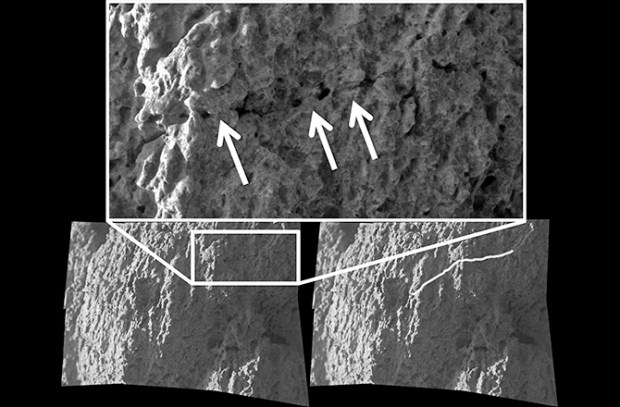 "Microscopic Imager mosaic showing a a pre-existing crack being ""healed over,"" which is evidence for the gel weathering alteration process. The image is from a Watchtower Class outcrop named Hillary on the Husband Hill summit. Image Credit: NASA/JPL/S. Cole"