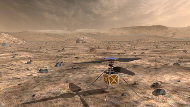 Artist's conception of the helicopter-like drone which could accompany the Mars 2020 Rover. Image Credit: NASA