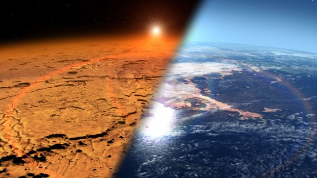 Illustration depicting how early Mars, with lakes, rivers and maybe oceans, changed to the dry, cold world we see today. Image Credit: NASA's Goddard Space Flight Center
