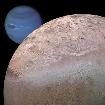 Neptune's moon Triton. It will also likely get ripped apart billions of years from now. Image Credit: NASA/JPL/Caltech