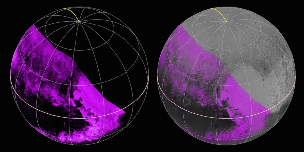 Map of methane ice distribution on Pluto, from the Ralph/LEISA infrared spectrometre on New Horizons. Stronger methane absorption is shown in the brighter purple colors and lower abundances are shown in black. Image Credit: NASA/JHUAPL/SWRI