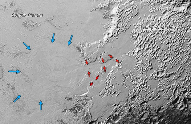 Close-up view of region inside rectangle from previous image, showing glaciers in 2- to 5-mile (3- to 8- kilometer) wide valleys (red arrows). Image Credit: NASA/JHUAPL/SwRI