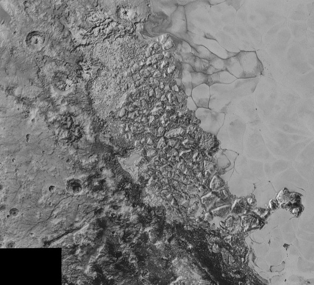 View of chaotic, jumbled terrain, similar to that seen on Europa. The image covers 470 kilometres (300 miles). Image Credit: NASA/Johns Hopkins University Applied Physics Laboratory/Southwest Research Institute