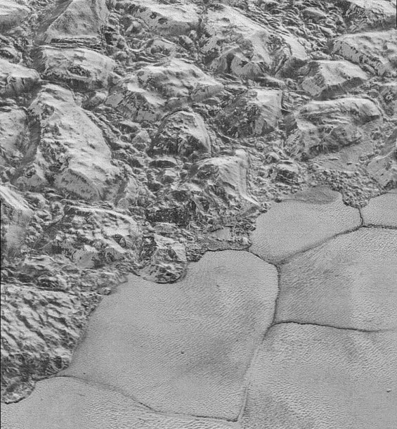 Closer view of the rugged mountainous highlands adjacent to the edge of Sputnik Planum. Photo Credit: NASA/JHUAPL/SwRI