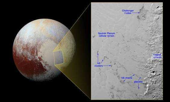 "Icebergs on Pluto: The large blocks of water ice float in a ""sea"" of nitrogen ice and are thought to have broken off from the rugged and mountainous highlands. Image Credit: NASA/JHUAPL/SwRI"