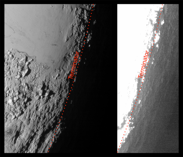 Image showing the daytime/nighttime terminator on Pluto (brightened in right side image to bring out more detail). High-altitude hazes produce a soft twilight effect. Image Credit: NASA/Johns Hopkins University Applied Physics Laboratory/Southwest Research Institute