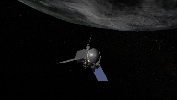 Artist's conception of OSIRIS-REx preparing to take a sample from the surface of Bennu. Image Credit: NASA/Goddard/Chris Meaney