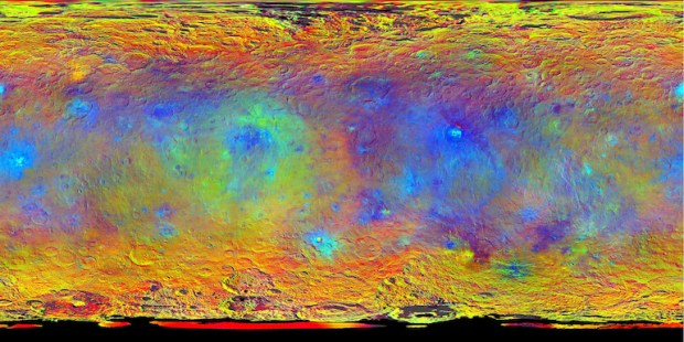 Color-coded map of Ceres. Occator crater, with the brightest spots, is middle-right of center. Image Credit: NASA/JPL-Caltech/UCLA/MPS/DLR/IDA