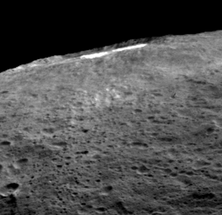 Oblique view of Occator crater and the bright spots on Ceres. Image Credit: NASA/JPL-Caltech/UCLA/MPS/DLR/IDA