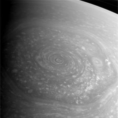 "The famous ""hexagon,"" another type of immense weather system around Saturn's north pole. Photo Credit: NASA/JPL-Caltech"