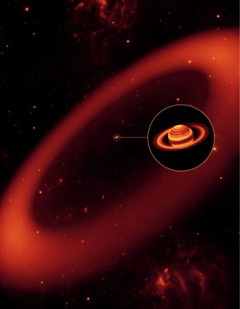 Artist's conception of the vast Phoebe ring, as seen in infrared light. Image Credit: NASA/JPL/Space Science Institute