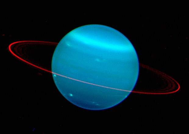 The rings of Uranus. Like Saturn, Uranus, and Neptune (as well as Jupiter) are known to have ring systems, but they are much fainter and less prominent. Image Credit: Lawrence Sromovsky (Univ. Wisconsin-Madison)/Keck Observatory