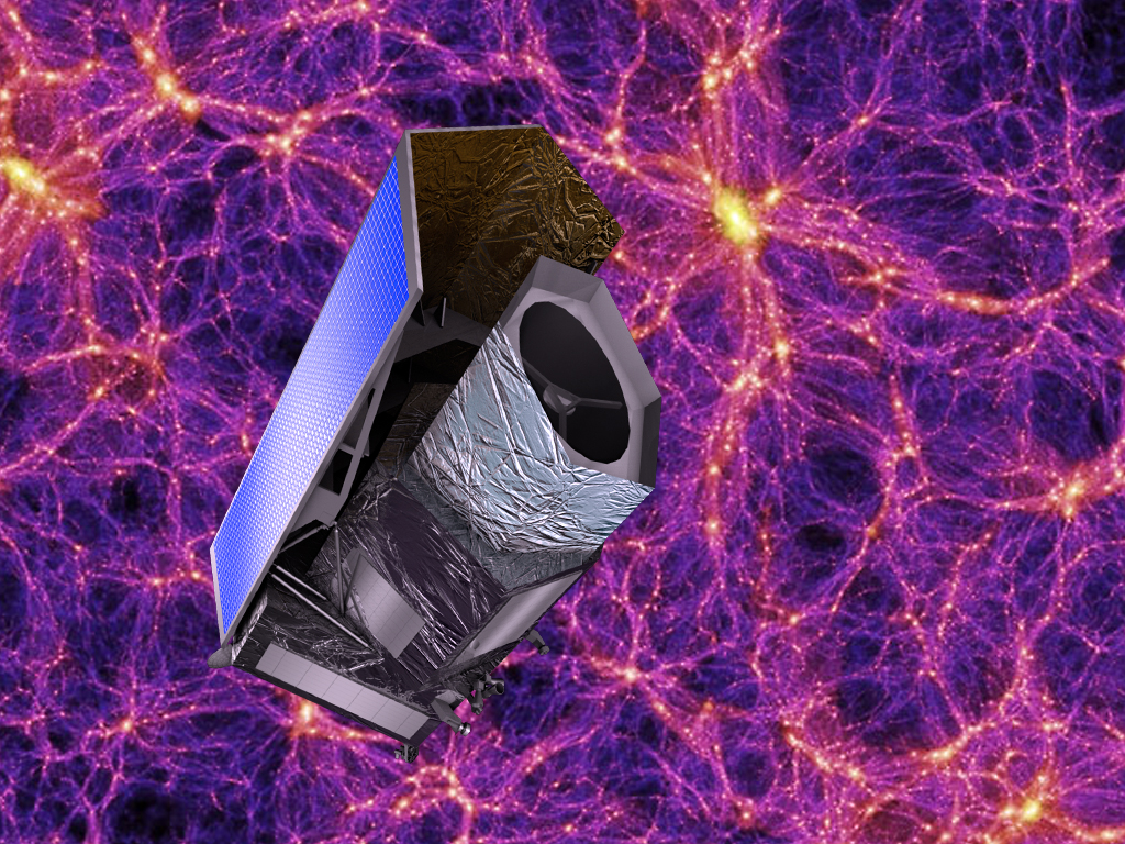 Un concept artistic asupra telescopului (de studiu a energiei negre) Euclid în spațiu. Agenția Spațială Europeană și NASA vor lansa telescopul în spațiu în anul 2020. CREDIT: ESA