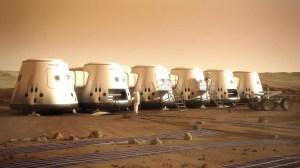 Ilustrare sugestivă a astronauților misiunii Marte 1 și a coloniei lor pe Planeta Roșie. CREDIT: Mars One / Bryan Versteeg