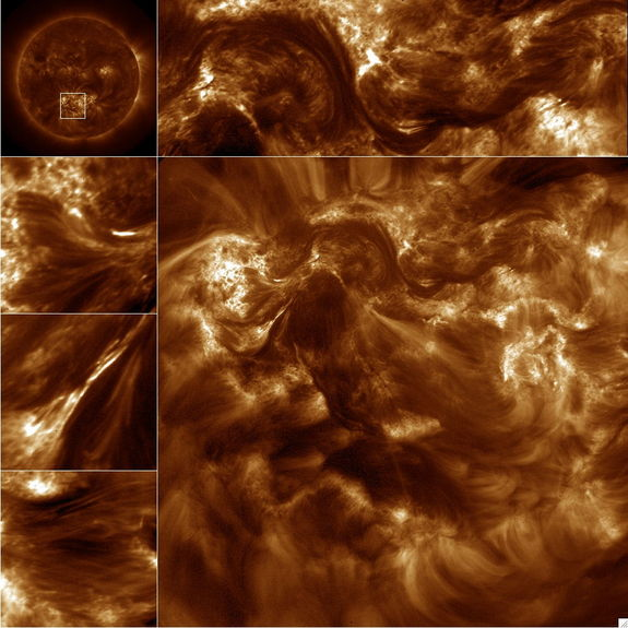 NASA's High-resolution Coronal Imager (Hi-C) capture over 50 16-Megapixel images of the 1.5 million-degree solar corona. The large image is the full frame image and the smaller images along the top and sides are sub fields of the image. The upper left corner image is from the Atmospheric Imaging Assembly on the Solar Dynamics Observatory and the box in this image shows the Hi-C field of view. Released Jan. 23, 2013.CREDIT: Dr. Amy Winebarger, MSFC/NASA