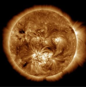 The Atmospheric Imaging Assembly on the Solar Dynamics Observatory captures images of the sun's corona. This image shows the 1.5 million-degree solar atmosphere and is taken at the start of the Hi-C sounding rocket observations. Released Jan. 23, 2013.CREDIT: NASA
