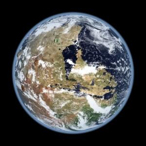 O simulare a planetei Marte - în istoria sa timpurie, cu apă lichidă la suprafață. Vulcanul Olympus Moon de-a lungul orizontului. Caracteristicile topografice sunt puțin exagerate pentru a crea un efect dramatic puțin mai mare decât trebuie să fi fost în realitate.  Photo: Kevin Gill