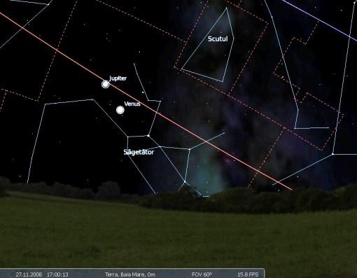 conjunctie Venus Jupiter 27.11.